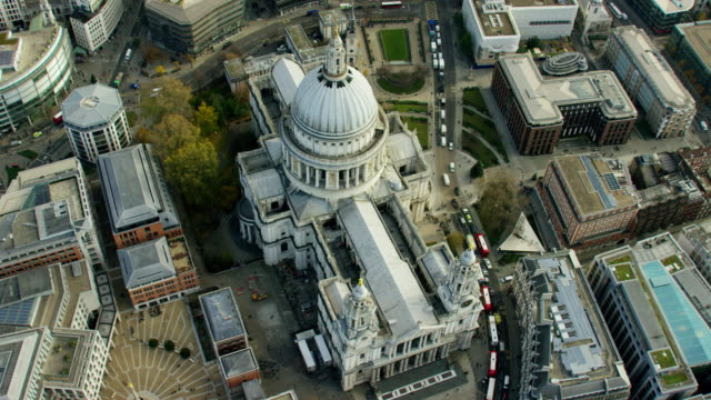 Aerial view of St Paul's Cathedral London UK