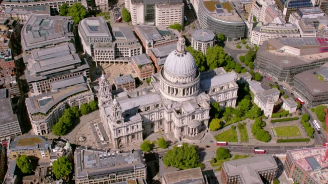 Aerial View of St. Paul's Cathedral, UK. 4K