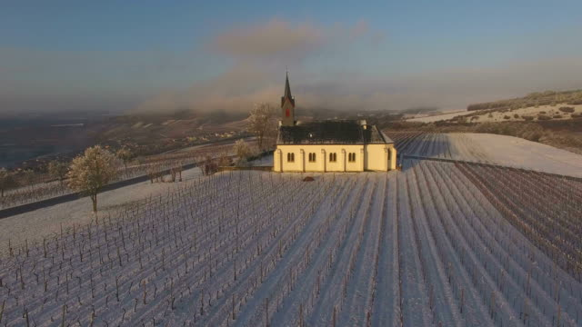aerial view of st. roch's chapel near nittel in winter, upper moselle valley, rhineland-palatinate, germany - upper palatinate stock videos & royalty-free footage