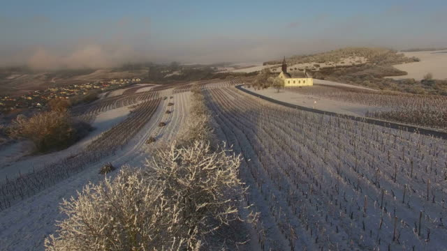 aerial view of st. roch's chapel near nittel in winter, upper moselle valley, rhineland-palatinate, germany - rhineland palatinate stock videos & royalty-free footage