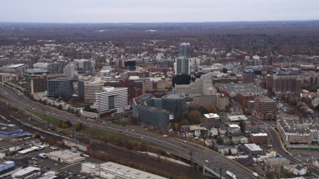 Aerial view of Stamford, CT. Shot in 2011.