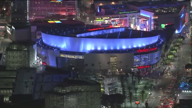 KTLA Aerial View of Staples Center at Night