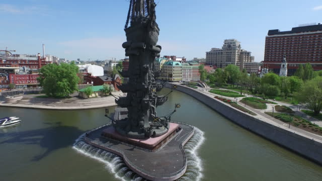 aerial view of statue of peter the great / russia, moscow - male likeness stock videos & royalty-free footage