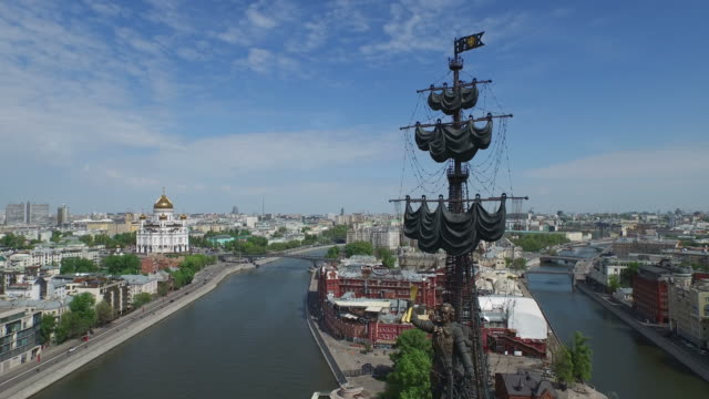aerial view of statue of peter the great / russia, moscow - onion dome stock videos and b-roll footage