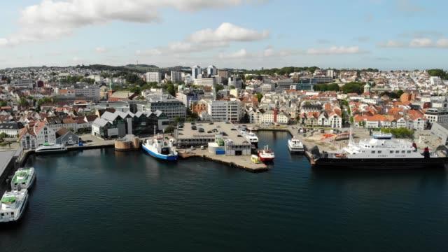 aerial view of stavanger sentrum, norway - stavanger stock videos & royalty-free footage
