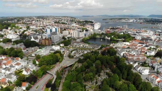 stockvideo's en b-roll-footage met luchtfoto van stavanger sentrum, noorwegen - boven