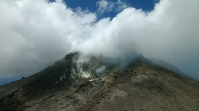 Aerial view of steaming SoufriËre Hills Volcano on Montserrat.