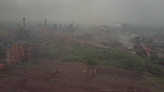 aerial view of steel authority of india limited factory, rourkela, odisha, india, on friday, june 21, 2019. - metal industry stock videos & royalty-free footage