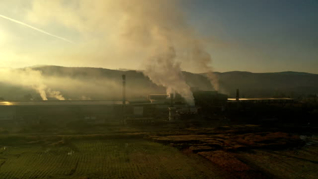 aerial view of steel factory - acciaieria video stock e b–roll