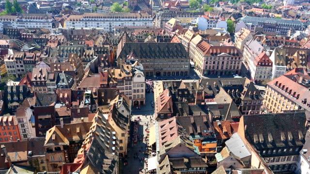 vídeos de stock e filmes b-roll de vista aérea de estrasburgo, time lapse - estrasburgo
