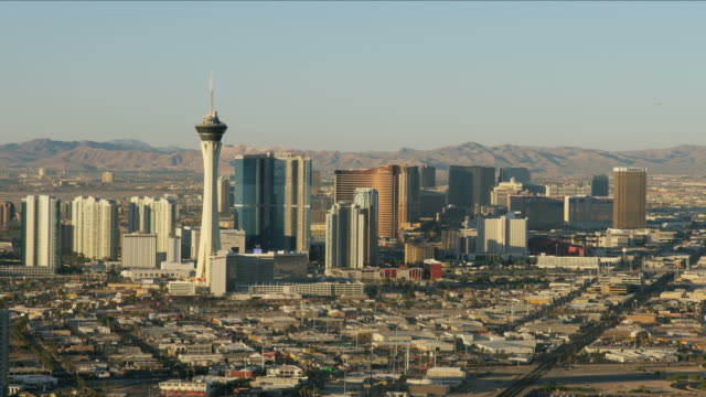 aerial view of stratosphere tower downtown las vegas - las vegas stock videos & royalty-free footage