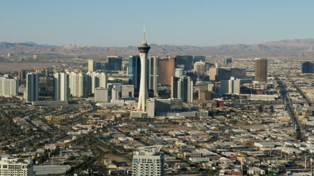 Aerial view of Stratosphere Tower Downtown Las Vegas