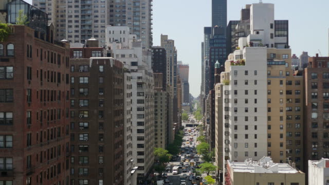 aerial view of street avenue within city buildings district. new york manhattan scenery