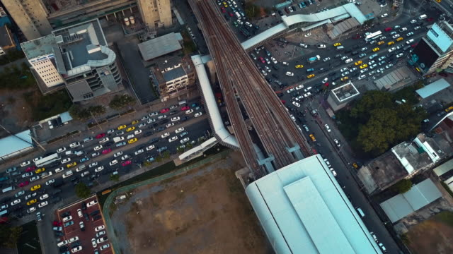 aerial view of street intersection in bangkok,thailand - flatiron building manhattan stock videos and b-roll footage