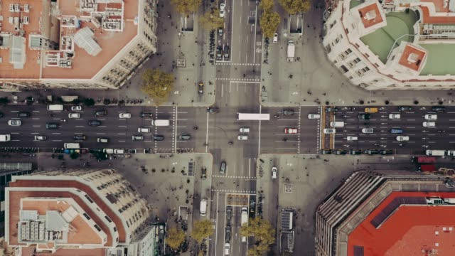 aerial view of street with cars in barcelona - panoramic stock videos & royalty-free footage