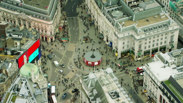 Aerial view of streets around Piccadilly Circus London