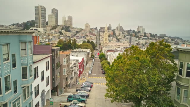 aerial view of streets of san francisco - san francisco california video stock e b–roll