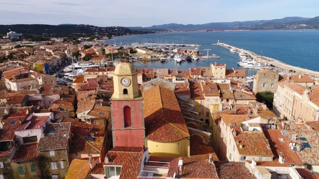 aerial view of st-tropez, french riviera - village stock videos & royalty-free footage