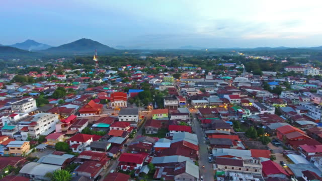 aerial view of stunning chiang khan tourist. - mckyartstudio stock videos and b-roll footage