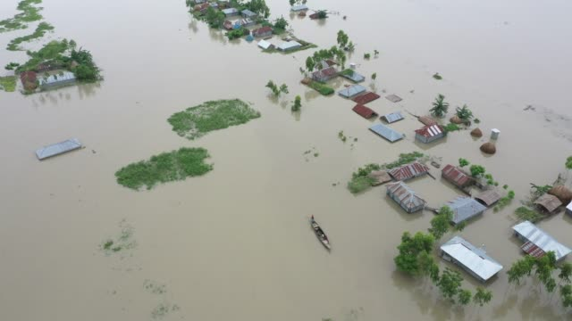 vidéos et rushes de aerial view of submerged houses during flood in the northern part of bangladesh heavy monsoon rains have unleashed landslides and floods that... - bangladesh