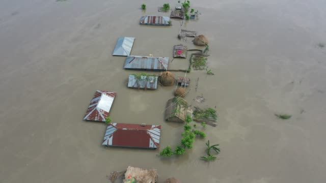 aerial view of submerged houses during flood in the northern part of bangladesh heavy monsoon rains have unleashed landslides and floods that... - überschwemmung stock-videos und b-roll-filmmaterial