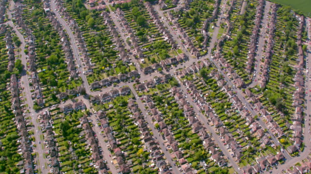 aerial view of suburban houses in london, uk. 4k - terraced house stock videos & royalty-free footage