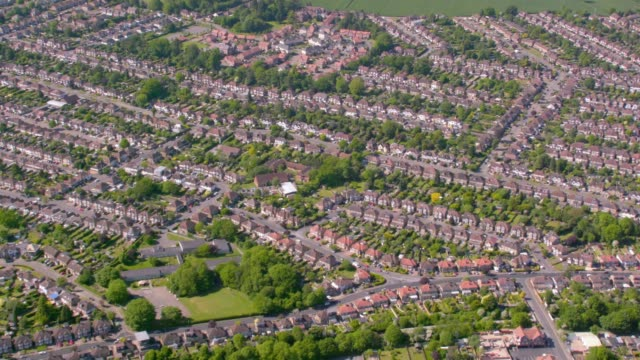 aerial view of suburban houses in london, uk. 4k - 19th century style stock videos & royalty-free footage
