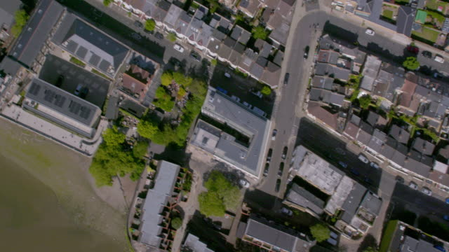 aerial view of suburban streets in london, uk. 4k - grounds stock videos & royalty-free footage