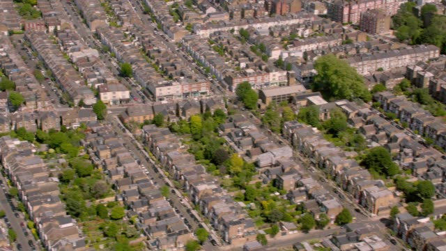 aerial view of suburban victorian houses in london, uk. 4k - real estate sign stock videos & royalty-free footage