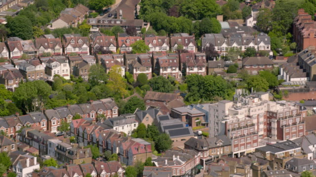 aerial view of suburban victorian houses in london, uk. 4k - high up stock videos & royalty-free footage