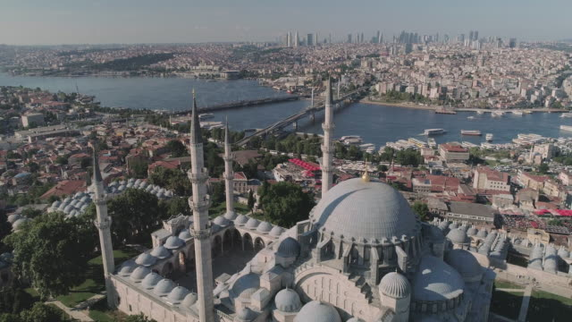 aerial view of suleymaniye kulliyesi mosque with istanbul cityscape. turkey - suleymaniye mosque stock videos and b-roll footage