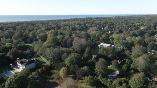 aerial view of summer homes in the hamptons - long island stock videos & royalty-free footage