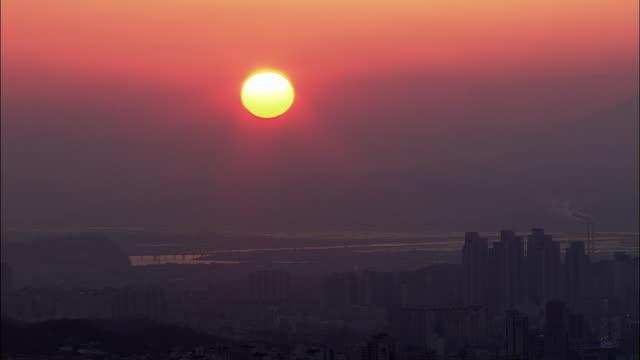 aerial view of sun setting at daegu - daegu stock videos and b-roll footage