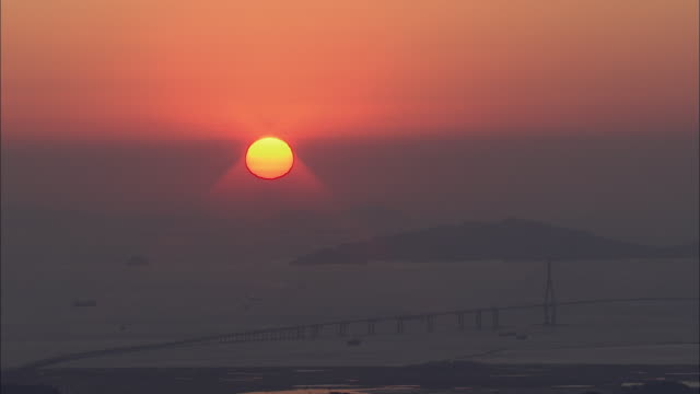 Aerial View of sun setting at Incheon