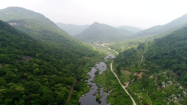 aerial view of sunchang, jeollabuk-do province, south korea - mountain range stock videos & royalty-free footage