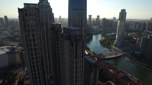 Aerial view of sunlight over downtown district of Tianjin