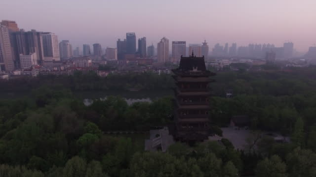 Aerial View of Sunrise and Air Pollution in Hefei