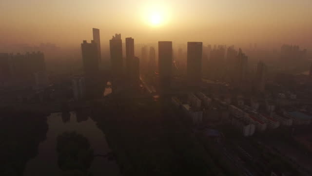 vidéos et rushes de aerial view of sunrise and air pollution in hefei - smog