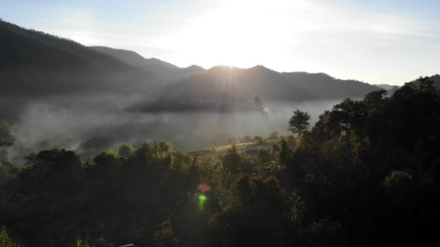 aerial view of sunrise at the mountain - tropical rainforest stock videos & royalty-free footage