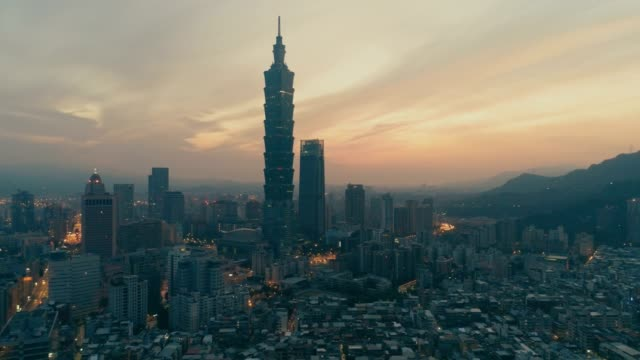 aerial view of sunrise of cityscape at taipei center district, taiwan - taiwan stock videos & royalty-free footage