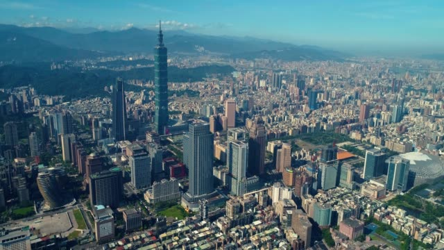 aerial view of sunrise of cityscape at taipei center district, taiwan - financial district stock videos & royalty-free footage
