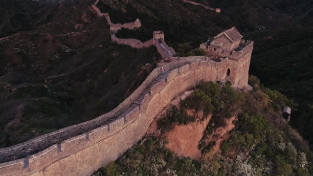 Aerial View of Sunrise of the Great Wall