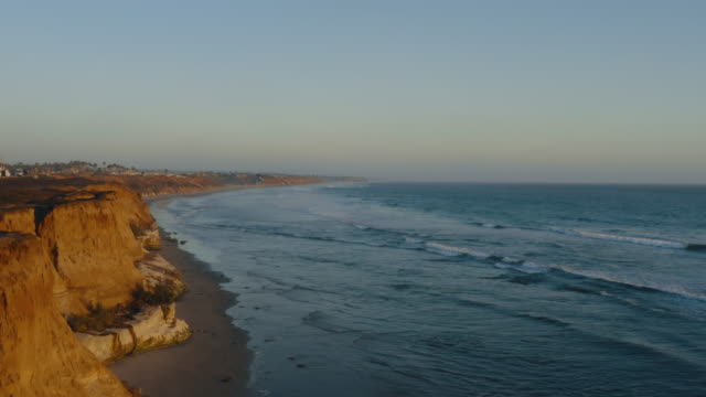 aerial view of sunset and ocean - san diego stock-videos und b-roll-filmmaterial