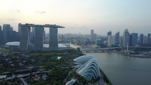 Aerial view of sunset at Marina Bay Singapore