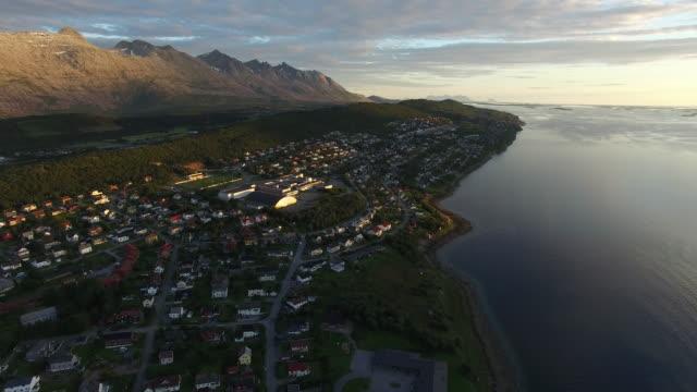 Aerial view of sunset cityscape of Sandnessjoen, Norway