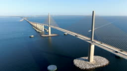 Aerial view of Sunshine Skyway, Tampa Bay Florida
