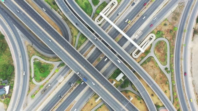 aerial view of super highway during rush hour - crisscross stock videos & royalty-free footage