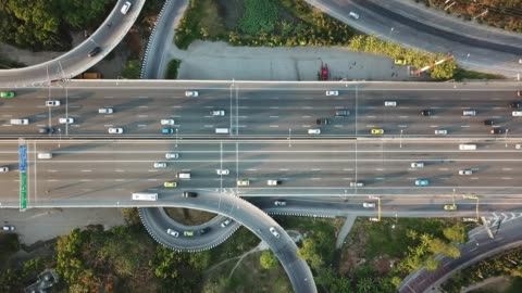 aerial view of super highway during rush hour - bus stock videos & royalty-free footage
