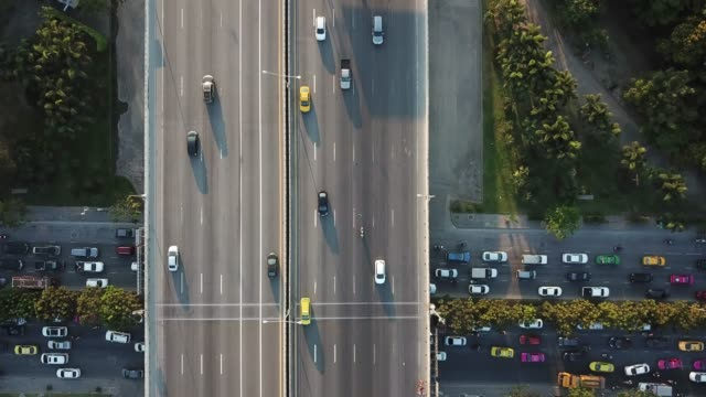 aerial view of super highway during rush hour - busy morning stock videos & royalty-free footage