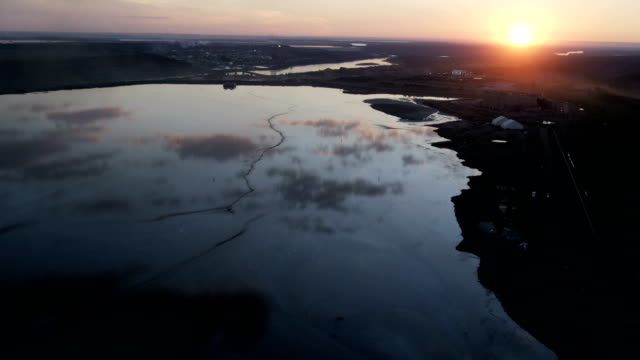 aerial view of surface trailing ponds alberta canada - tarmac stock videos & royalty-free footage